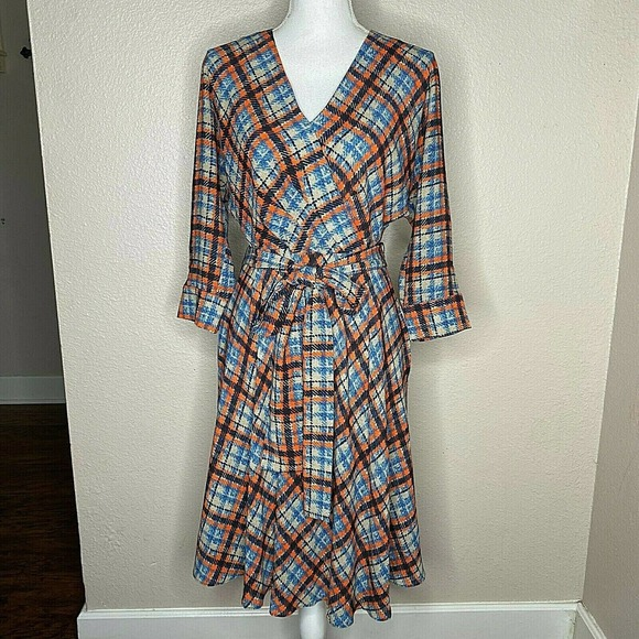 Eliza J Faux Wrap Tie Waist A Line Dress Size 6
